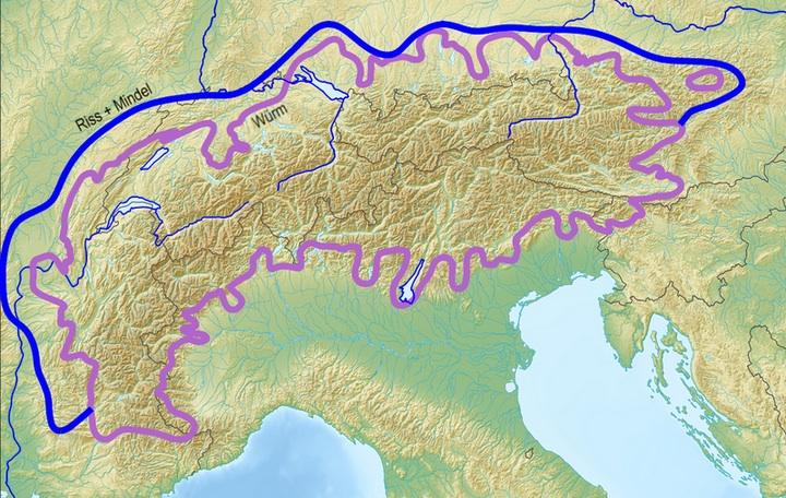 Extension des 3 dernières glaciations